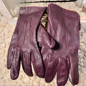 [RALPH LAUREN] Burgundy Leather Gloves EUC Med